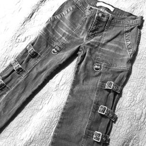 Vintage Rock/Metal/Goth Grey Denim Buckle Jeans